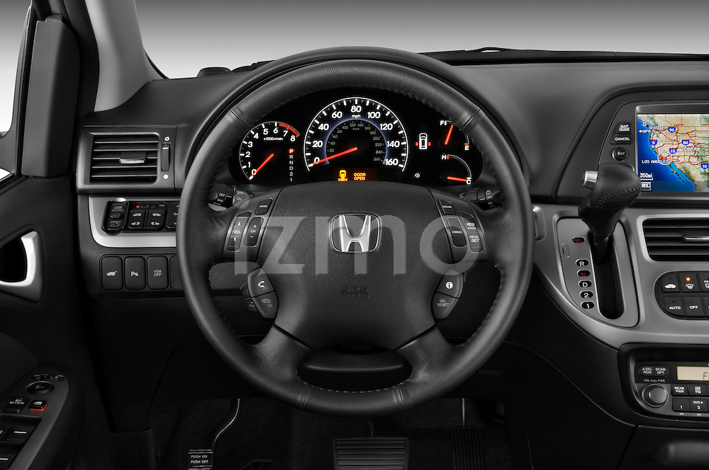 Steering wheel view of a 2009 Honda Odyssey Touring