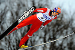 Anders Bordel of Norway soars through the air during the FIS World Cup Ski Jumping in Sapporo, northern Japan in February, 2008.