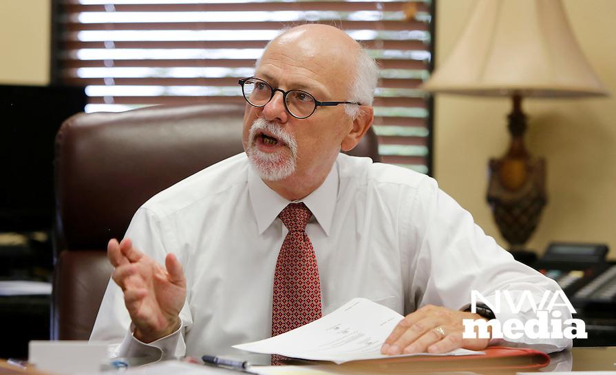 NWA Democrat-Gazette/DAVID GOTTSCHALK  University of Arkansas Chancellor Joseph E. Steinmetz photographed September 9, 2016, in his office on the campus in Fayetteville.