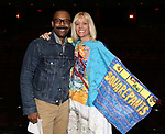 """T. Oliver Reid and Jenifer Foote during the Broadway Opening Night Actors' Equity Legacy Robe Ceremony honoring Jenifer Foote for """"Tootsie"""" at The Marquis Theatre on April 22, 2019  in New York City."""