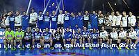 Handball - All Star Game 2014 am 01.02.2014 in der Arena Leipzig (Sachsen). Wie bereits in den Vorjahren misst sich die Handball Nationalmannschaft mit einer Auswahl von Spielern der DKB Handball-Bundesliga. <br /> IM BILD: Gemeinsames Abschlussfoto mit All-Star-Team und Nationalmannschaft. <br /> Foto: Christian Nitsche