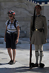 Evzones in uniform at Memorial to the Unknown Soldier