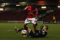 Byron Moore of Crewe and Marcus Haber of Stevenage battle for possession. Crewe Alexandra v Stevenage - npower League 1 - The Alexandra Stadium, Gresty Road, Crewe - 5th January, 2013. © Kevin Coleman 2013.