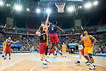 Herbalife Gran Canaria's player Richard Hendrix and FC Barcelona Lassa player Justin Doellman and Joey Dorsey during the final of Supercopa of Liga Endesa Madrid. September 24, Spain. 2016. (ALTERPHOTOS/BorjaB.Hojas)