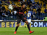BOGOTÁ - COLOMBIA, 31–03-2019: David González, guardameta de Deportivo Independiente Medellín en acción durante partido de la fecha 12 entre Millonarios y Deportivo Independiente Medellín, por la Liga Águila I 2019, jugado en el estadio Nemesio Camacho El Campín de la ciudad de Bogotá. / David González, goalkeeper of Deportivo Independiente Medellin in action during a match of the 12th date between Millonarios and Deportivo Independiente Medellin, for the Aguila Leguaje I 2019 played at the Nemesio Camacho El Campin Stadium in Bogota city, Photo: VizzorImage / Luis Ramírez / Staff.