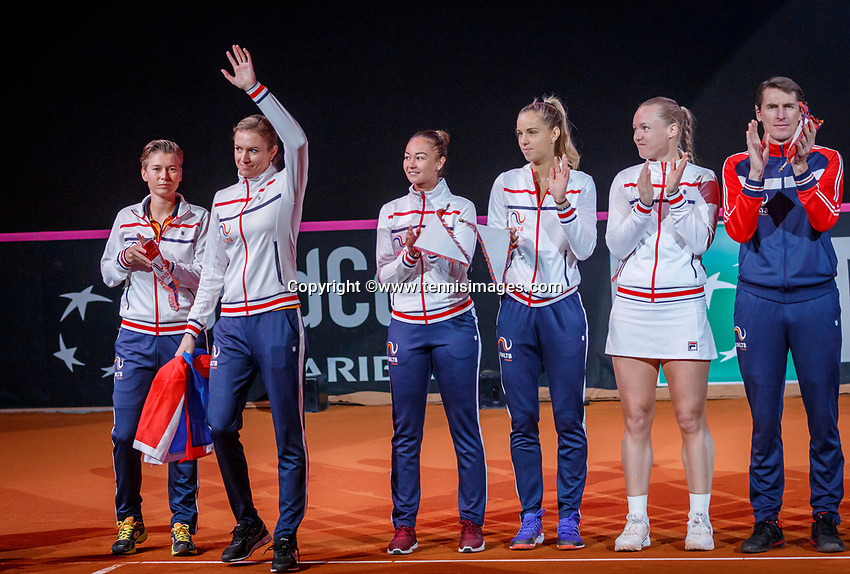 The Hague, The Netherlands, Februari 7, 2020,    Sportcampus, FedCup  Netherlands -  Balarus, Opening, presentation of Dutch team , ltr: Demi Schuurs, Indy de Vroome, Lesley Kerkhove, Aranxta Rus, Kiki Bertens and catain Paul Haarhuis<br /> Photo: Tennisimages/Henk Koster