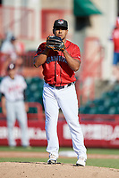 Erie SeaWolves pitcher Wladimir Pinto (25) during an Eastern League game against the Richmond Flying Squirrels on August 28, 2019 at UPMC Park in Erie, Pennsylvania.  Richmond defeated Erie 6-4 in the first game of a doubleheader.  (Mike Janes/Four Seam Images)