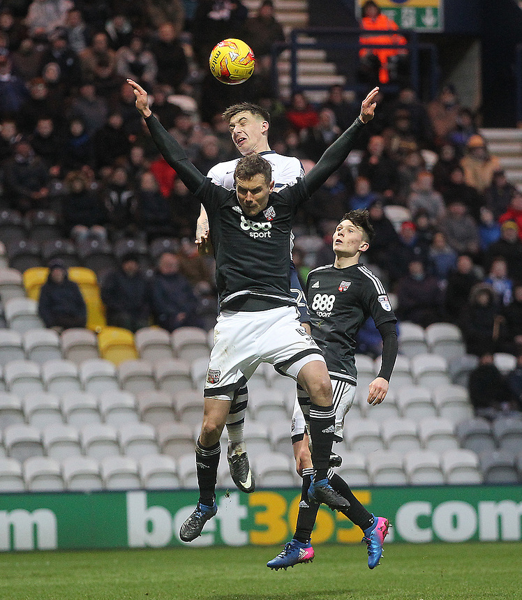 Preston North End's Jordan Hugill out jumps Brentford's Andreas Bjelland but fails to score<br /> <br /> Photographer Mick Walker/CameraSport<br /> <br /> The EFL Sky Bet Championship - Preston North End v Brentford - Saturday 11th February 2017 - Deepdale - Preston<br /> <br /> World Copyright &copy; 2017 CameraSport. All rights reserved. 43 Linden Ave. Countesthorpe. Leicester. England. LE8 5PG - Tel: +44 (0) 116 277 4147 - admin@camerasport.com - www.camerasport.com