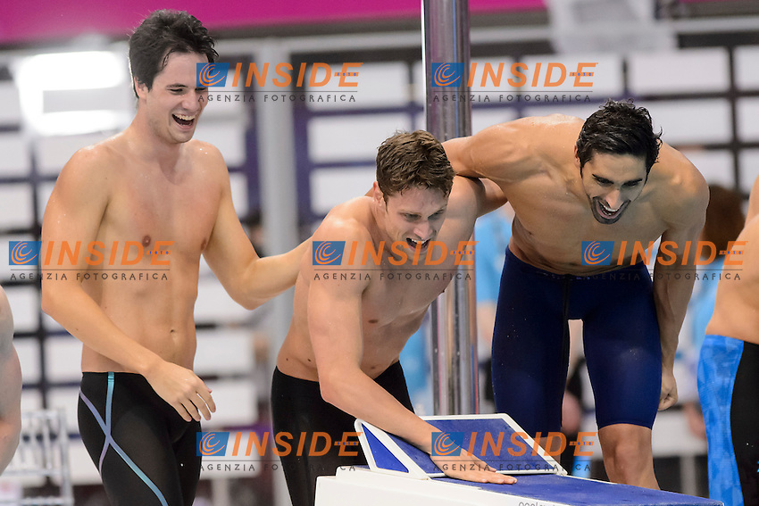 ITALY Bronze Medal <br /> Andrea D'Arrigo Filippo Magnini Luca Dotto Gabriele Detti <br /> 4x200m Freestyle Relay Men<br /> London, Queen Elizabeth II Olympic Park Pool <br /> LEN 2016 European Aquatics Elite Championships <br /> Swimming<br /> Day 13 21-05-2016<br /> Photo Andrea Staccioli/Deepbluemedia/Insidefoto