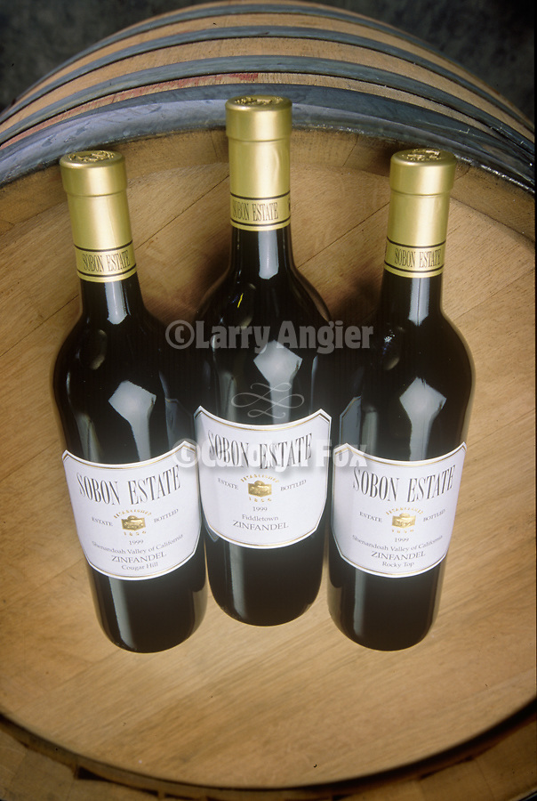 Three bottles, Sobon Estate Winery, Shenandoah Valley, Calif.