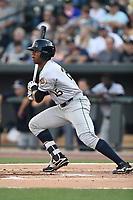Right fielder Isiah Gilliam (25) of the Charleston RiverDogs bats in a game against the Columbia Fireflies on Friday, June 9, 2017, at Spirit Communications Park in Columbia, South Carolina. Columbia won, 3-1. (Tom Priddy/Four Seam Images)