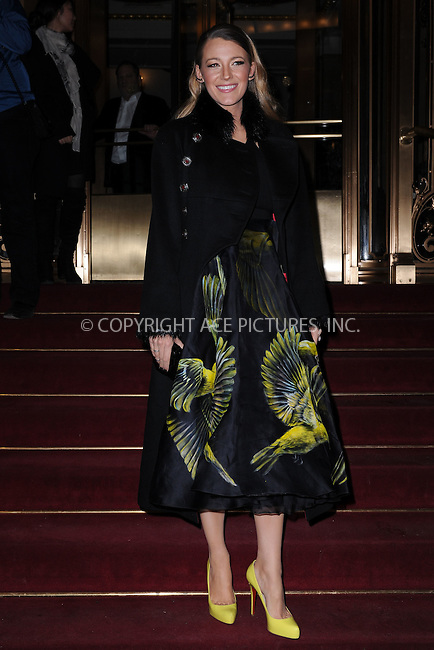 WWW.ACEPIXS.COM<br /> February 18, 2015 New York City<br /> <br /> Blake Lively was seen leaving the Marchesa Fashion Show at the St. Regis Hotel on February 18, 2015 in New York City.<br /> <br /> Please byline: Kristin Callahan/AcePictures<br /> <br /> ACEPIXS.COM<br /> <br /> Tel: (646) 769 0430<br /> e-mail: info@acepixs.com<br /> web: http://www.acepixs.com