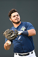 Catcher Brandon Brosher (25) of the Columbia Fireflies warms up before a game against the Charleston RiverDogs on Monday, August 7, 2017, at Spirit Communications Park in Columbia, South Carolina. Columbia won, 6-4. (Tom Priddy/Four Seam Images)