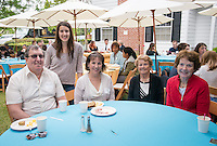 From left, Dennis Cottle, graduate Alyssa Cottle, Carole Cottle and Dagny Lyssand and Eirin Hilton. Graduating seniors and their families and friends attend Brunch with President Jonathan Veitch at Collins House, May 16, 2015. (Photo by Marc Campos, Occidental College Photographer)