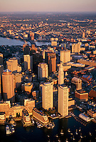 Downtown harbor sunrise Boston MA