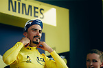 Race leader Julian Alaphilippe (FRA) Deceuninck-Quick Step retains the Yellow Jersey at the end of Stage 16 of the 2019 Tour de France running 177km from Nimes to Nimes, France. 23rd July 2019.<br /> Picture: ASO/Thomas Maheux | Cyclefile<br /> All photos usage must carry mandatory copyright credit (© Cyclefile | ASO/Thomas Maheux)