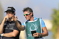Ricardo Gouveia (POR) and caddy Nick on the 10th tee during Thursday's Round 1 of the 2016 Portugal Masters held at the Oceanico Victoria Golf Course, Vilamoura, Algarve, Portugal. 19th October 2016.<br /> Picture: Eoin Clarke | Golffile<br /> <br /> <br /> All photos usage must carry mandatory copyright credit (&copy; Golffile | Eoin Clarke)