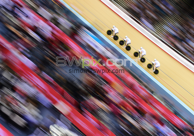 Picture by Alex Broadway/SWpix.com - 05/12/2014 - Cycling - 2014 UCI Track Cycling World Cup - Day One - Lee Valley Velopark Velodrome, London, England - Laura Trott, Elinor Barker, Ciara Horne and Katie Archibald of Great Britain compete in the Women's Team Pursuit Gold Medal Final.