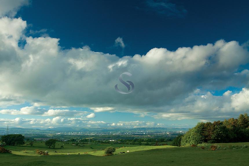 Glasgow and the Campsie Fells from Neilston, East Renfrewshire