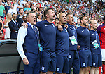 England's Aidy Boothroyd and his backroom staff sing the national anthem during the UEFA Under 21 Semi Final at the Stadion Miejski Tychy in Tychy. Picture date 27th June 2017. Picture credit should read: David Klein/Sportimage