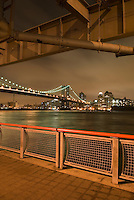 AVAILABLE FROM JEFF AS A FINE ART PRINT.<br /> <br /> AVAILABLE DIRECTLY FROM JEFF FOR COMMERCIAL AND EDITORIAL LICENSING.<br /> <br /> Manhattan Bridge and East River on an Overcast Night, New York City, New York State, USA