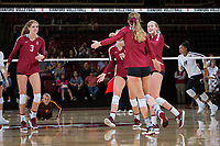 STANFORD, CA - September 9, 2018: Meghan McClure, Kate Formico, Holly Campbell, Jenna Gray at Maples Pavilion. The Stanford Cardinal defeated #1 ranked Minnesota 3-1 in the Big Ten / PAC-12 Challenge.