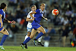 16 October 2015: Duke's Rebecca Quinn (CAN) (5) and North Carolina's Jessie Scarpa (12). The University of North Carolina Tar Heels hosted the Duke University Blue Devils at Fetzer Field in Chapel Hill, NC in a 2015 NCAA Division I Women's Soccer game. Duke won the game 1-0.