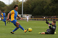 Craig Jeakins of Romford is denied by Charlie Horlock of Hastings during Romford vs Hastings United, FA Trophy Football at Ship Lane on 8th October 2017