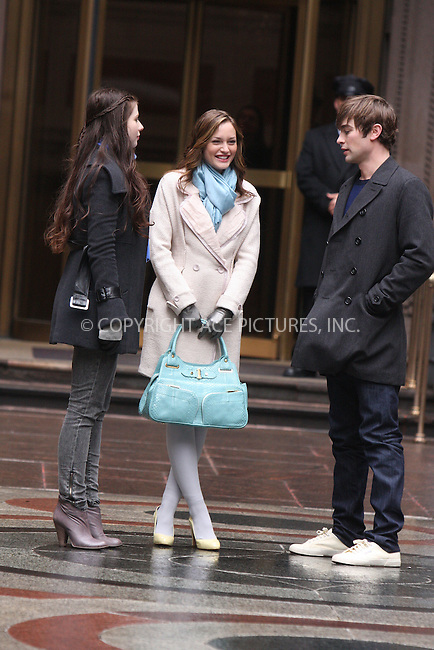 WWW.ACEPIXS.COM . . . . .  ....March 9 2009, New York City....Actors Michelle Trachtenberg, Leighton Meester and Chace Crawford were on the Manhattan set of the TV show ' Gossip Girl' on March 9 2009 in New York City....Please byline: AJ Sokalner - ACEPIXS.COM..... *** ***..Ace Pictures, Inc:  ..tel: (212) 243 8787..e-mail: info@acepixs.com..web: http://www.acepixs.com