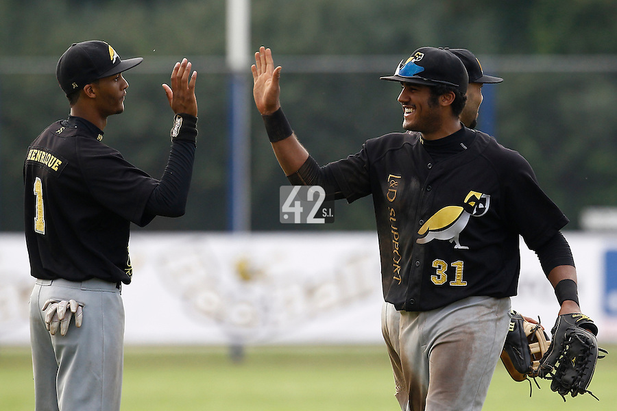 03 September 2011: Wesley Connor of L&D Amsterdam Pirates celebrates during game 1 of the 2011 Holland Series won 5-4 in inning number 14 by L&D Amsterdam Pirates over Vaessen Pioniers, in Hoofddorp, Netherlands.