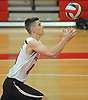 Floral Park No. 13 Ryan Engel serves during a Nassau County varsity boys' volleyball match against Farmingdale at Floral Park High School on Thursday, September 24, 2015. He tallied 18 kills, 21 assists and six aces in Floral Park's 23-25, 25-19, 25-15, 25-12 win.<br /> <br /> James Escher