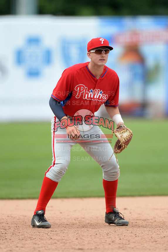 John Aiello (46) of Germantown Academy in Lansdale, Pennsylvania playing for the Philadelphia Phillies scout team during the East Coast Pro Showcase on July 30, 2014 at NBT Bank Stadium in Syracuse, New York.  (Mike Janes/Four Seam Images)