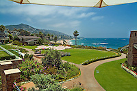 Montage Resort Hotel Garden below Swimming Pool beautiful View Laguna Beach California, seaside resort, artist community, located in southern, Orange County, California, United States
