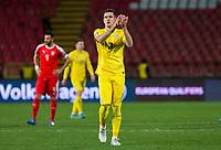 17th November 2019; Stadion Rajko Mitic, Belgrade, Serbia; European Championships 2020 Qualifier, Serbia versus Ukraine; Artem Besedin of Ukraine applauds to the fans - Editorial Use