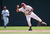 STANFORD, CA - April 17, 2011: Kenny Diekroeger of Stanford baseball throws to second during Stanford's game against Oregon State at Sunken Diamond. Stanford lost 6-4.