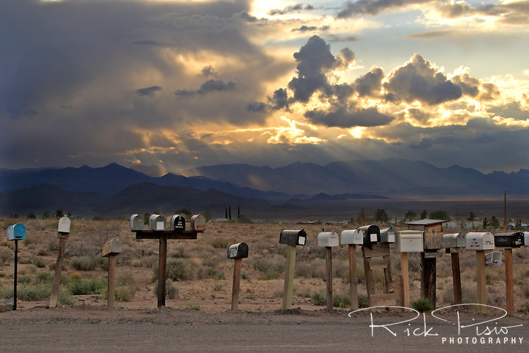 Mailboxes line the road beside the original alignment of Route 66 in Peach Springs, Arizona.