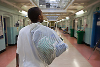A new prisoner arrives on E wing, the induction wing of HMP Wandsworth. London, United Kingdom. Wandsworth is the largest prison in the UK, currently able to hold 1665 prisoners. The prison was built in 1851 and is still one of the largest prisons in Western Europe.