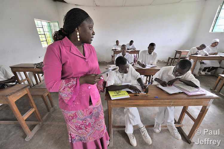 Njambo Mwavi lectures at the Lupandilo Nursing School in Kamina, Democratic Republic of the Congo. The school is sponsored by the United Methodist Church.