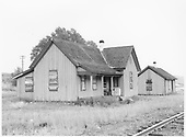 View of D&amp;RGW buildings at Poncha Junction, unused and boarded up.<br /> D&amp;RGW  Poncha Junction, CO  Taken by Graves, William A. - 1958