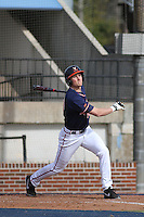 University of Virginia Cavaliers catcher Brandon Downes #10 at bat during a game against the University of Kentucky Wildcats at Brooks Field on the campus of the University of North Carolina at Wilmington on February 14, 2014 in Wilmington, North Carolina. Kentucky defeated Virginia by the score of 8-3. (Robert Gurganus/Four Seam Images)