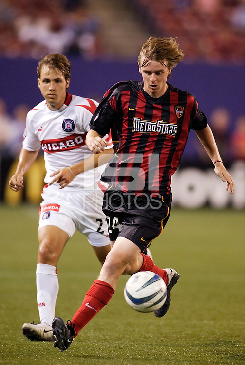 The MetroStars' Eddie Gaven is marked by the Chicago Fire's Justin Mapp. The Chicago Fire played the NY/NJ MetroStars to a one all tie at Giant's Stadium, East Rutherford, NJ, on May 15, 2004.