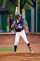 Elizabethton Twins second baseman Michael Helman (13) at bat during a game against the Bristol Pirates on July 29, 2018 at Joe O'Brien Field in Elizabethton, Tennessee.  Bristol defeated Elizabethton 7-4.  (Mike Janes/Four Seam Images)