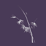 Artistic Japanese Zen illustration design of bamboo stalk with leaves in modern colors, off white on purple background