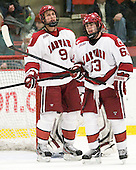 Danny Biega (Harvard - 9), Colin Blackwell (Harvard - 63) - The Harvard University Crimson defeated the visiting Clarkson University Golden Knights 3-2 on Harvard's senior night on Saturday, February 25, 2012, at Bright Hockey Center in Cambridge, Massachusetts.