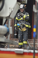 Fire Captain Brandon Flyn after operating at a 2nd alarm in Bedford Stuyvesant, Brooklyn