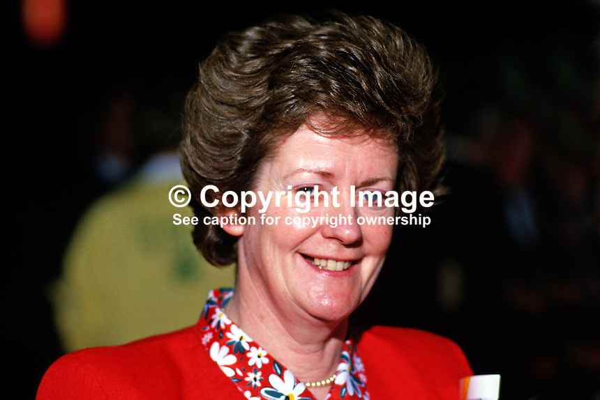 Mary O'Rourke, TD, Fianna Fail, Rep of Ireland, 19860401MOR..Copyright Image from Victor Patterson, 54 Dorchester Park, Belfast, UK, BT9 6RJ..Tel: +44 28 9066 1296.Mob: +44 7802 353836.Voicemail +44 20 8816 7153.Skype: victorpattersonbelfast.Email: victorpatterson@mac.com.Email: victorpatterson@ireland.com (back-up)..IMPORTANT: If you wish to use this image or any other of my images please go to www.victorpatterson.com and click on the Terms & Conditions. Then contact me by email or phone with the reference number(s) of the image(s) concerned.