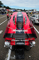 Aug. 19, 2011; Brainerd, MN, USA: NHRA funny car driver Cruz Pedregon during qualifying for the Lucas Oil Nationals at Brainerd International Raceway. Mandatory Credit: Mark J. Rebilas-