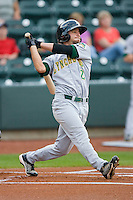 Josh Fellhauer #2 of the Lynchburg Hillcats follows through on his swing against the Winston-Salem Dash at  BB&T Ballpark May 22, 2010, in Winston-Salem, North Carolina.  Photo by Brian Westerholt / Four Seam Images