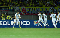 PEREIRA - COLOMBIA, 18-01-2020: Adolfo Gaich de Argentina celebra después de anotar el segundo gol de su equipo durante partido entre Colombia y Argentina por la fecha 1, grupo A, del CONMEBOL Preolímpico Colombia 2020 jugado en el estadio Hernán Ramírez Villegas de Pereira, Colombia. /  Adolfo Gaich of Argentina celebrates after scoring the second goal of his team during match between Colombia and Argentina for the date 1, group A, for the CONMEBOL Pre-Olympic Tournament Colombia 2020 played at Hernan Ramirez Villegas stadium in Pereira, Colombia. Photo: VizzorImage / Julian Medina / Cont