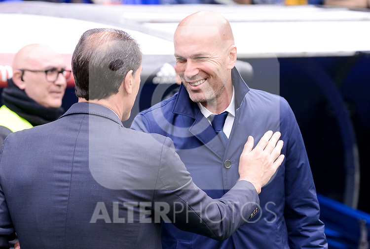 Real Madrid's coach Zinedine Zidane and Valencia CF's coach Salvador Gonzalez Marco Voro during La Liga match between Real Madrid and Valencia CF at Santiago Bernabeu Stadium in Madrid, April 29, 2017. Spain.<br /> (ALTERPHOTOS/BorjaB.Hojas)